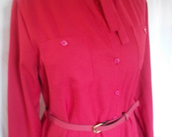 Vintage dress Raspberry Red Shirt dress with belt and tie to the neck size large