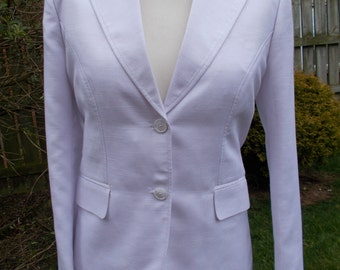 Vintage jacket blazer by Voglee Export Tailors Co white linen mix fitted blazer size medium