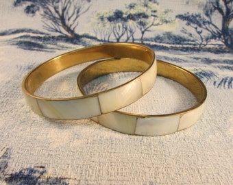 Pair of vintage gold-tone MOP inlay bangles