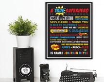 Superhero Wall Art. A True Superhero. PRINTABLE. Superhero Rules. Room Decor. Superhero Nursery. Superhero Sign. Boys Birthday Party
