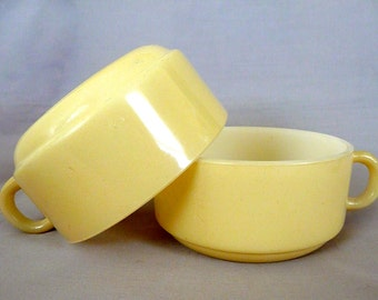 Beige Glasbake Soup Bowls