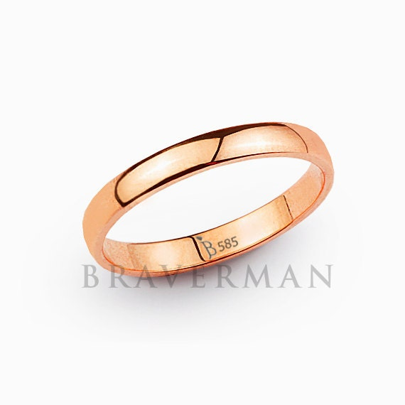 Rose Gold Wedding Band Womens 14K 3MM Dome High By BravermanOren