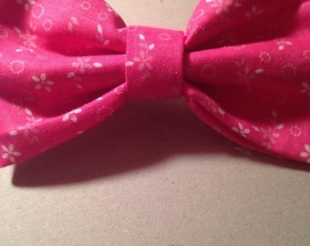 Bright Pink Floral Hair Bow with Attached Barrette!