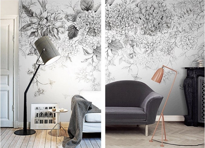 Sketch flowers wallpaper black and white poetry floral wall for Art cuisine rm 101 blanc
