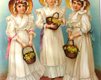 Vintage art print litho poster NOS printed in Germany girls triplets antique sisters victorian
