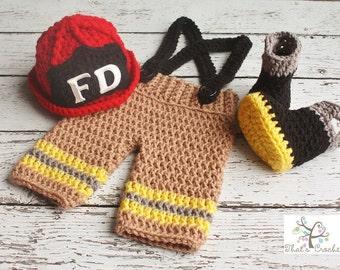 Newborn Firefighter Outfit, Newborn Photography Prop, Crochet fireman helmet, fireman boots, fireman pants