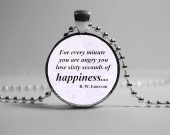 Ralph Waldo Emerson quote Pendant Necklace.  Literary Jewelry. Inspirational Quote Pendant