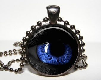 Blue eye avatar pendant, Art eye avatar necklace, Midnight Black jewelry