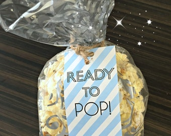 """Instant Download! """"Ready to POP!"""" It's a GIRL/BOY Baby Shower or Gender Reveal Favor Bag Tags"""