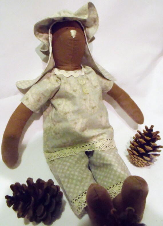 rabbit doll, plush rag doll, brown Tilda bunny, collectable doll, nursery décor, green floral outfit,