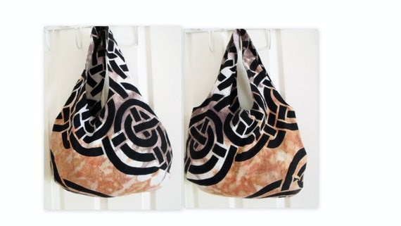 upcycled hippy boho shoulder bag, tote bag, cotton holiday bag, double sided celtic tie dyed fabric