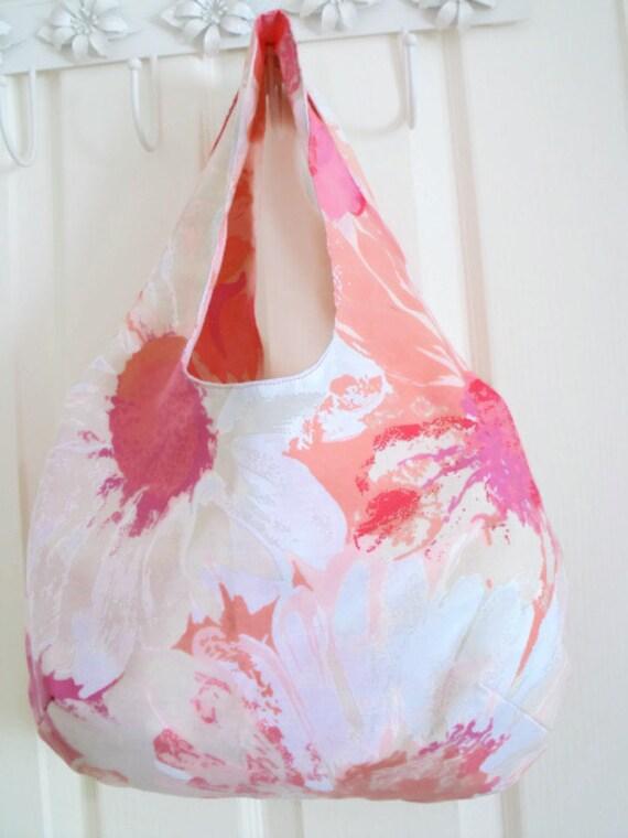 upcycled boho festival shoulder bag, tote bag, cotton holiday bag, versatile bag for picnics, holidays, beach, blue floral fabric,