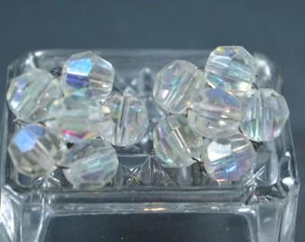 Vintage Aurora Borealis Clip Earrings Bead Clusters Clear AB Beads Vintage Clip Earrings Vintage Ab Crystals