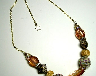 Classy Golden & White Beaded Necklace