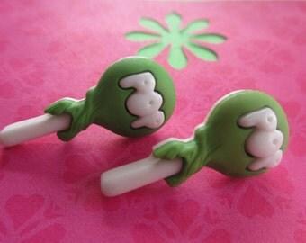 Tootsie pop studs-candy jewelry-Food earrings-Teen gift-novelty jewelry-food studs-cute gifts for kids-Kawaii earrings-Green candy studs