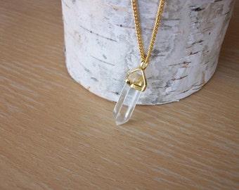 Quartz Crystal Gemstone Point with Gold Chain Crystal Dagger Necklace Unique Quartz Crystal Point Gold Chain Great Layering Necklace P0017