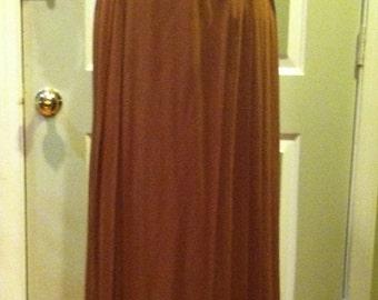 Vintage 70's Golden Brown Pleated Wrap Around Maxi Skirt
