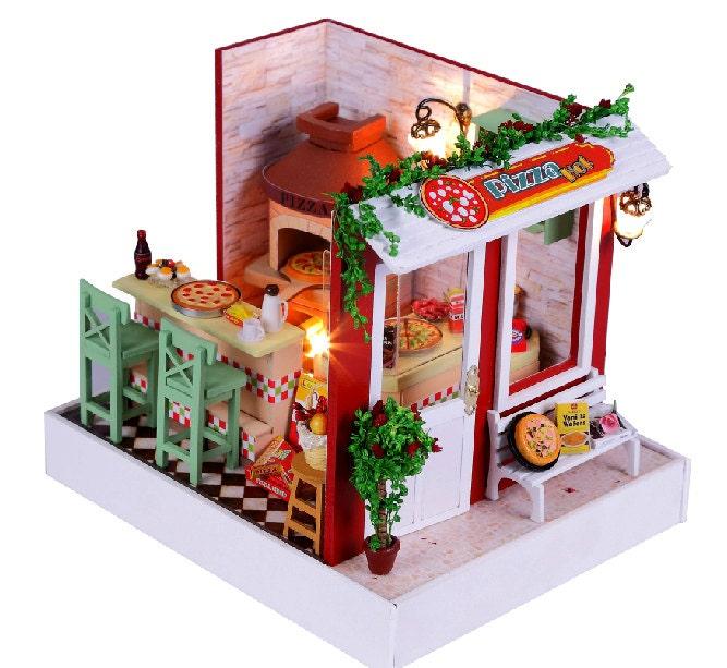DIY Dollhouse Pizza Shop Miniature Kit Handcraft Kit Birthday