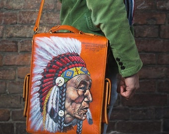 Men's vintage handmade messenger bag, print Indian chief