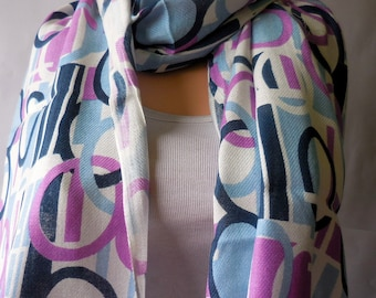 Purple Blue  Indian rayon scarves woman scarf. Multicolor scarf. India scarf  Women scarf winter scarf