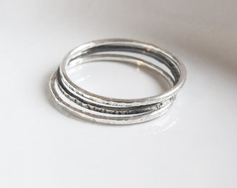 Set of 3 Super Thin Hammered Rings, Silver Stacking Rings 1,0 mm, Oxidized Ring, Shiny hammered Rings, Dainty Silver Rings, Simple Rings
