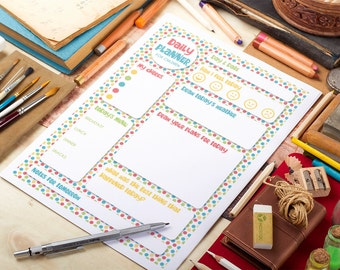 Daily Planner for Children. Fun printable planner in colorful dots design. Two sizes included (A4 and Letter). New Year resolution.