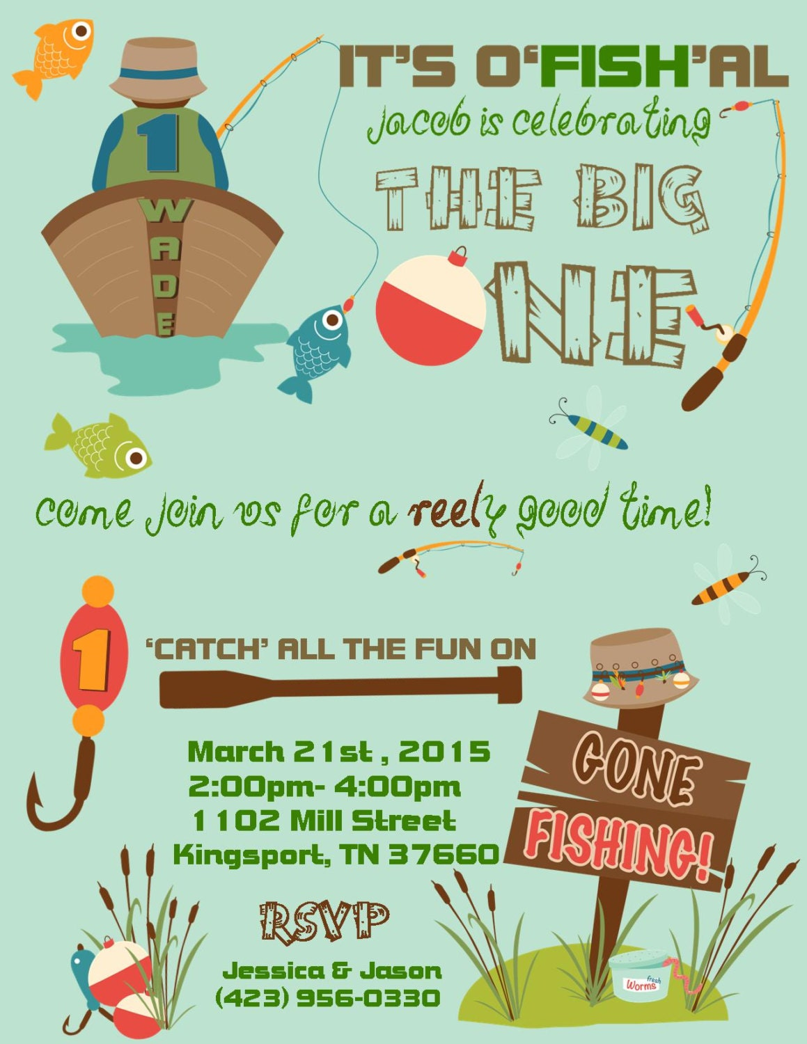 Fishing theme invitation customized and made by for Fishing birthday party invitations