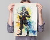 Tidus Final Fantasy  Game Watercolor Poster Art Wall Decor Gift  no458 featured image