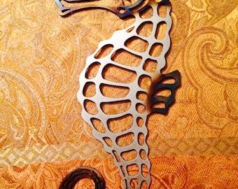 """Metal Seahorse, Wall Hanging 8"""" x 15"""""""