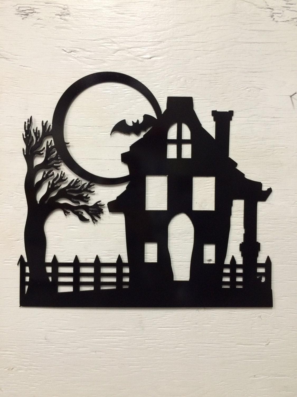 metal haunted house moon bat silhouette. Black Bedroom Furniture Sets. Home Design Ideas