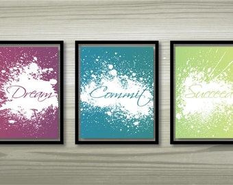 """Set of 3 printable wall art """"Dream"""", """"Commit"""" and """"Succeed"""" - 8""""x10"""""""