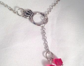 Princess necklace, Swarovski crystal necklace, birthstone necklace, bead lariat necklace, ring necklace, birthstone jewelry
