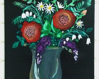 Folk Art Wild Flower Bouquet Painting / 11x14 Acrylic on Canvas Wall Art