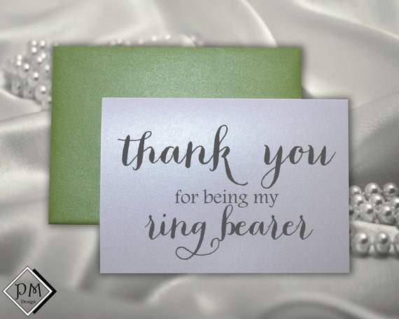 Thank You Note For Wedding Gift Card: Ring Bearer Wedding Card Gift For Ring Bearers By PicmatCards