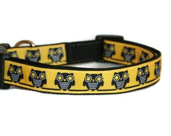 Yellow Owls Dog Collar