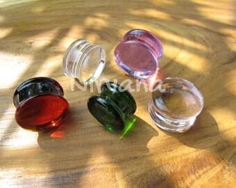 "1 Pair - Any Solid Color Glass Plugs 14g 12g 10g 8g 6g 4g 2g 0g 00g 7/16"" 1/2"" 9/16"" 5/8"" - 1"" 1.6 mm 2 mm 2.5 mm 3 mm 4mm 5 mm 6 mm - 25 mm"