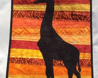 Giraffe at Sunset - Quilted Wall Hanging