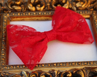 Lace Fabric Red Hair Bow -   Red Bow - Lace Hair Bow - Teens Bow - Girls Bow - Special Ocassion Hair Bow