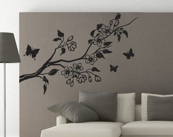 Floral with Butterflies Wall Decal - Floral Sticker - Floral Decal - Custom Colors