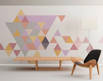 Geometric - Mid Century - Triangles - Pastel -  Wall Art - Wall Decal - Wall Sticker - Peel and Stick - SKU:TriPastFL