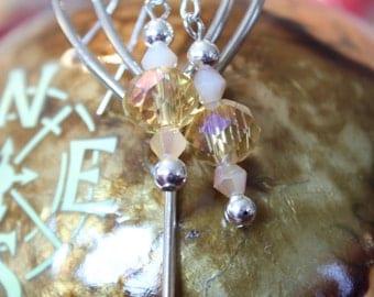 Honey And Peach Crystal Earrings