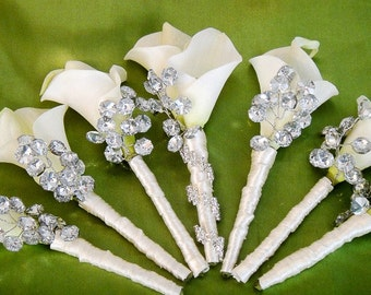 Cala Lily Grooms Boutonniere - Buttonhole - Wedding Boutonniere for Groom, Groomsmen, Men, and Prom