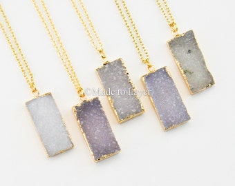 Druzy Bar Geode Necklace Jewelry Druzy Rectangle ,Bar Shape Geode Druzy Gold Filled Necklace, Boho Bohemian Layered Layering Sparkly