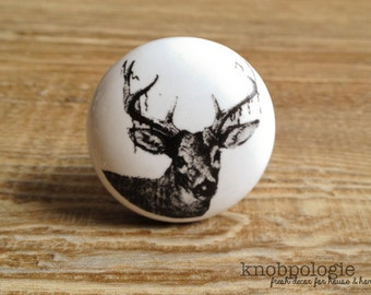 "1.5"" White and Black Deer Antler Knob - Nature Buck Forest Theme - Decorative Drawer Pull - Hunter Baby Boy Nursery - Mancave Ceramic Knobs"