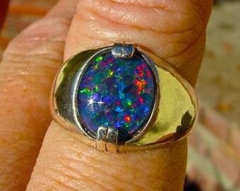 Mens opal ring Vivid Opal ring Genuine Australian Opal