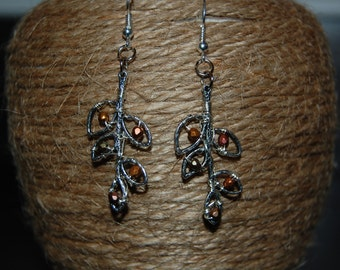 Silver leaf dangle earrings with beads in autumn colors
