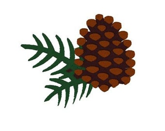 Embroidery Design Pattern File Fall Winter Pinecone with Fir Leaves for Tote Bag, Pillow, Kitchen, Tea Towel