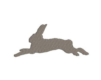 Embroidery File Design Pattern Leaping Bunny Rabbit Silhouette Profile for Easter