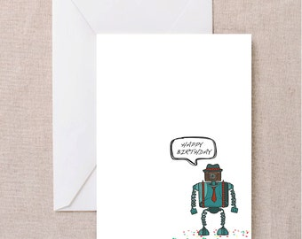 Handmade Hipster Robot Birthday Card with Envelope