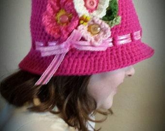 Girls/Teen Hot Pink Flower Garden  Cloche Sun Hat